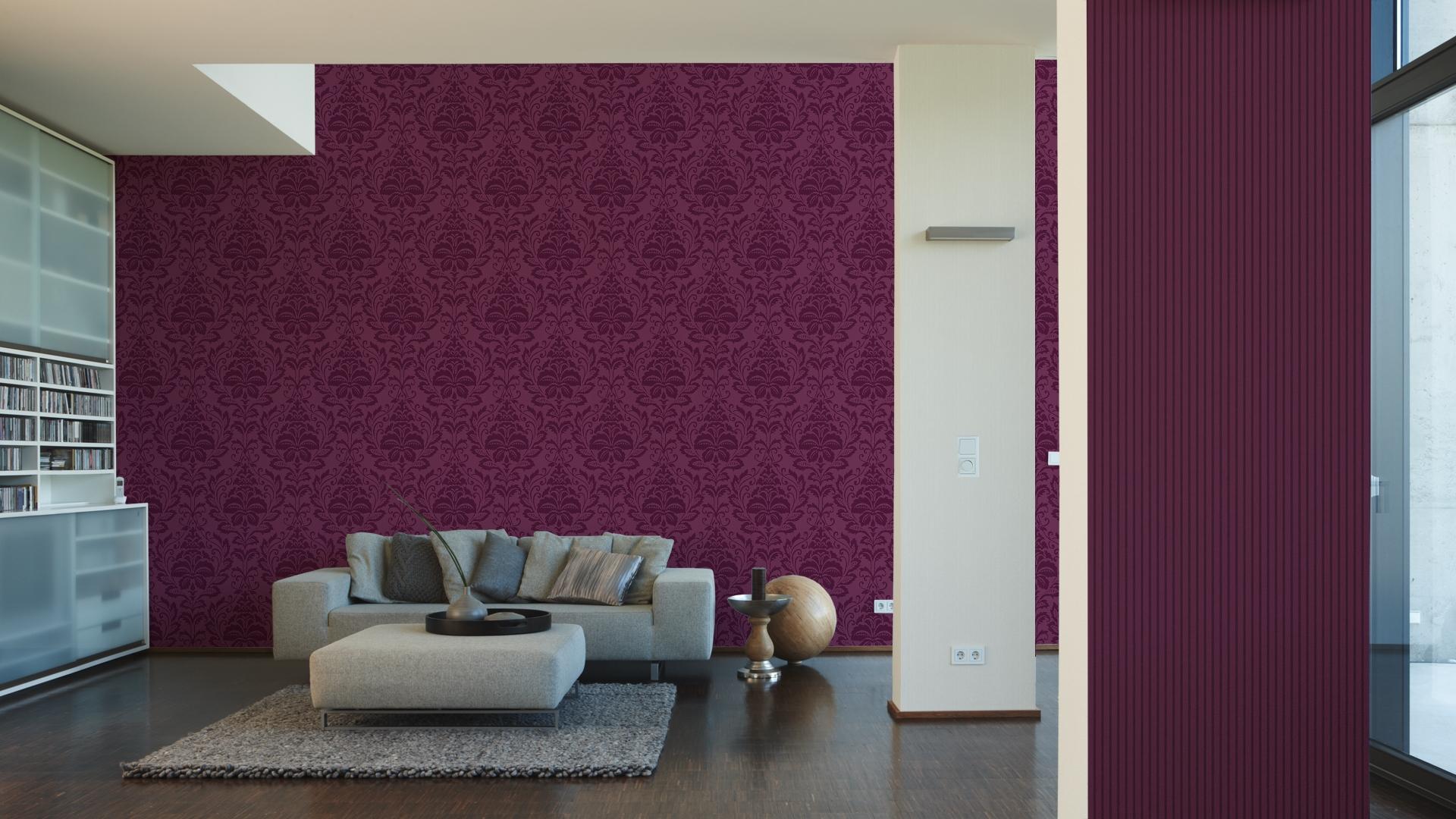 Livingwalls Vliestapete Flock 3, neo-barock, violett