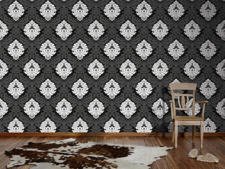 Livingwalls Vliestapete Flock, Mustertapete, neo-barock, schwarz / weiß