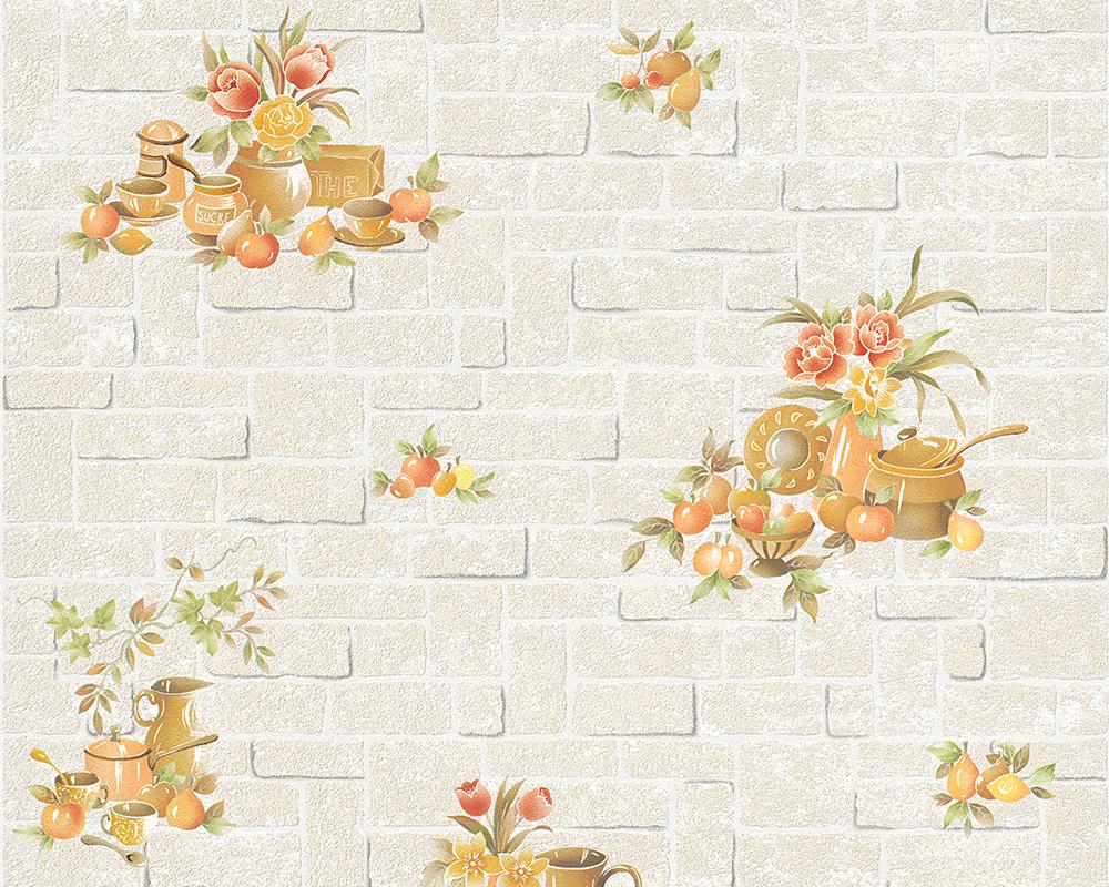 A.S. Creation Tapete  Creme Bunt Blumen , Natur , Steine