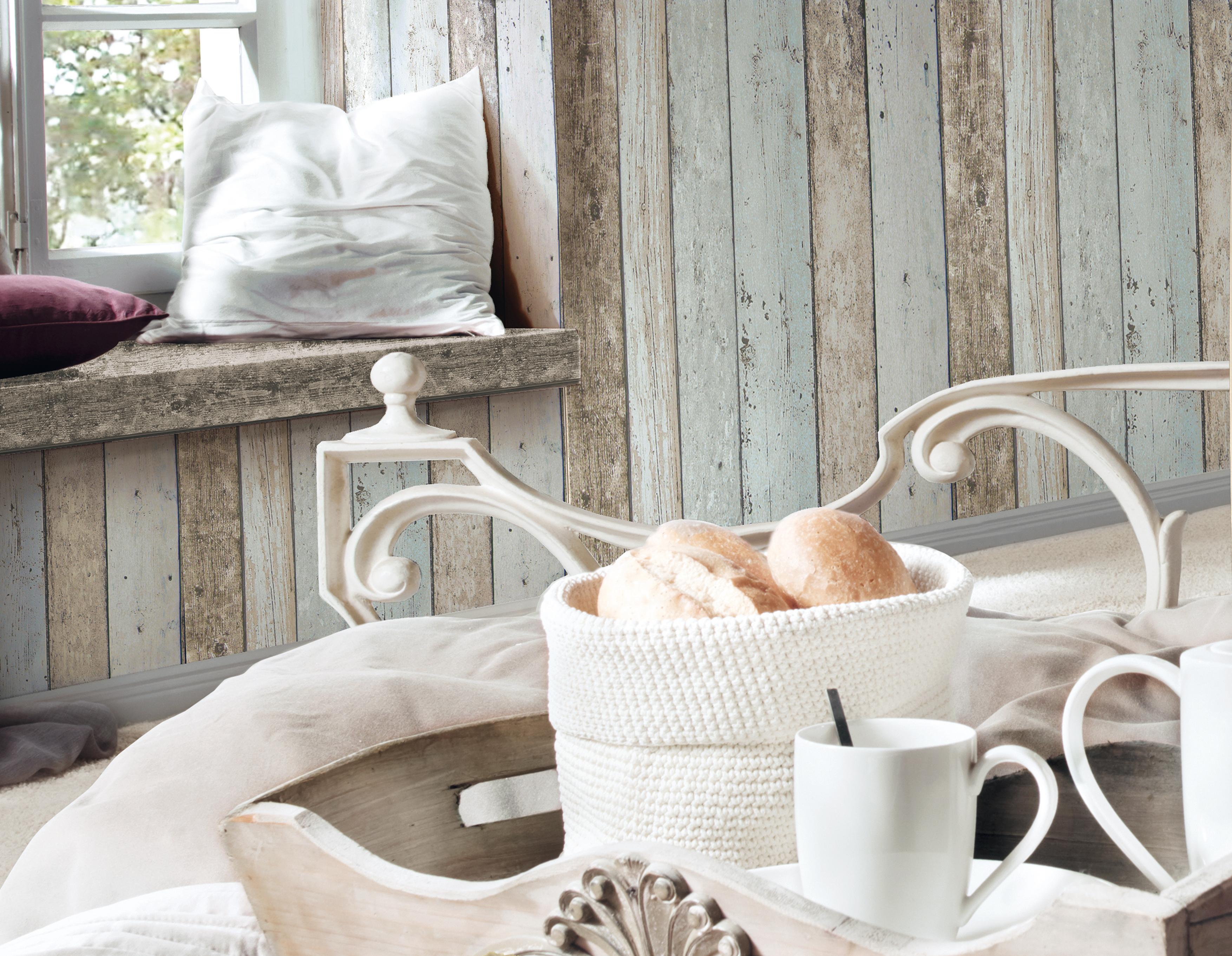 A.S. Création Tapete New England Holzoptik, beige, blau, braun,