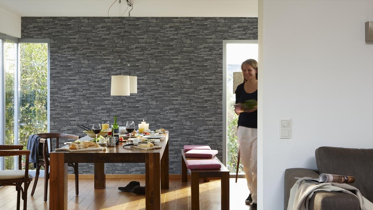 A.S. Creation Natursteinoptik Wood n Stone, grau, schwarz