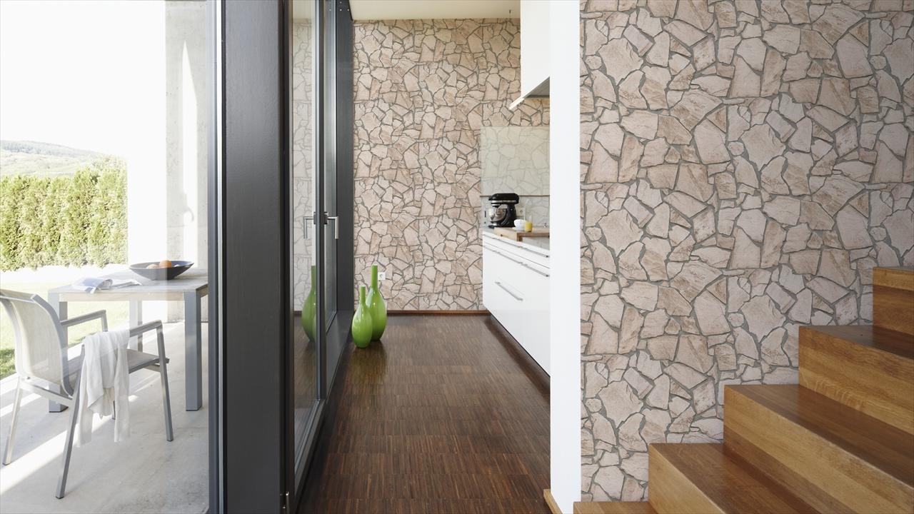 A.S. Creation Natursteinoptik Wood n Stone, beige, braun, grau