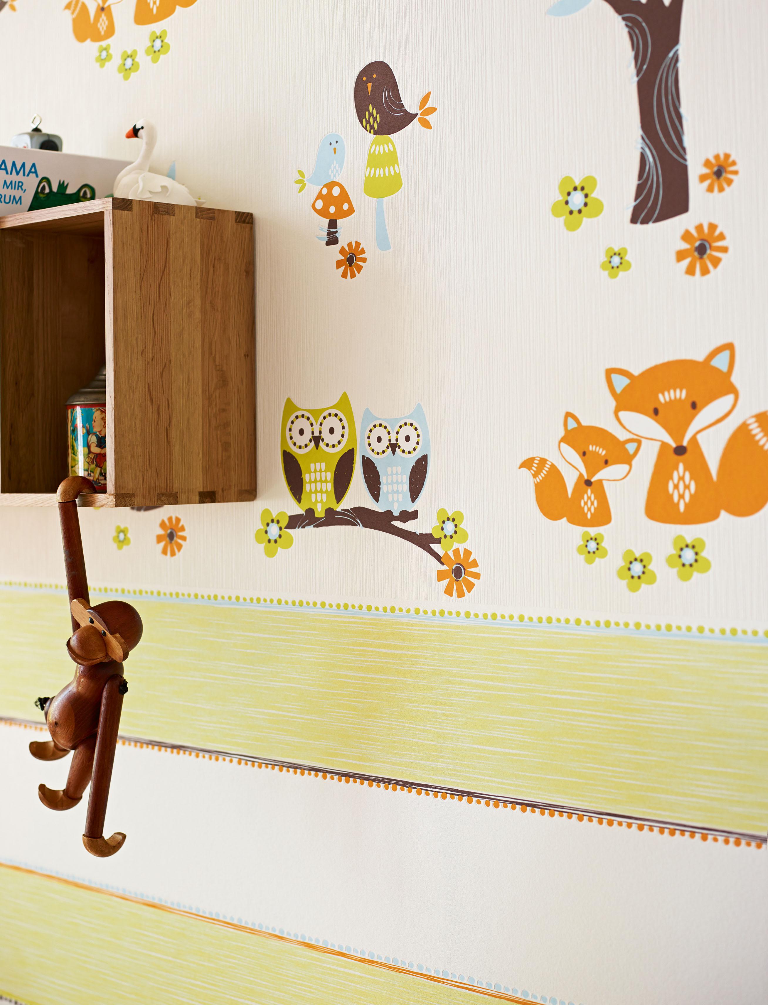 Esprit Kids Vliestapete Forest, Mustertapete, weiß, beige, hellblau, braun, magenta