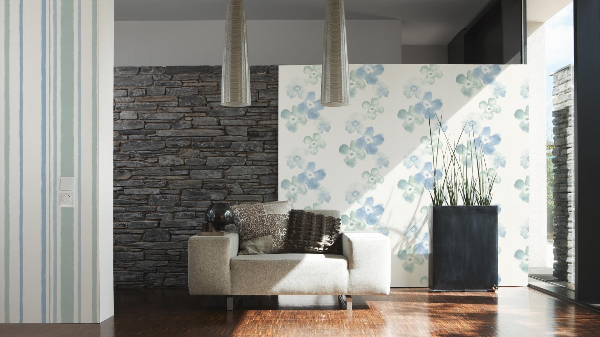 Esprit Home Tapete Stockholm, Mustertapete, floral, signalweiß, minttürkis, pastellblau