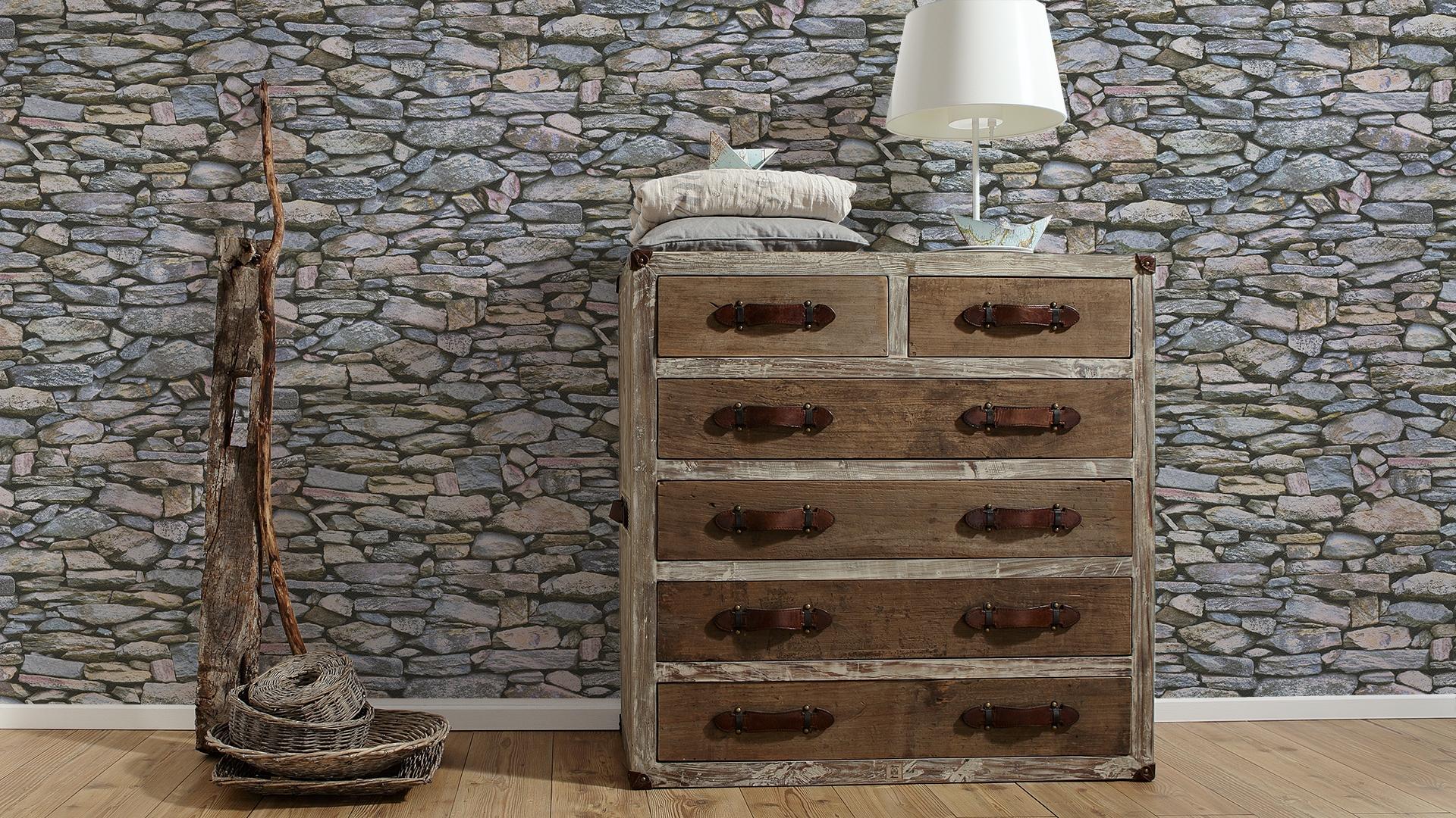 A.S. Création Papiertapete Dekora Natur, Mustertapete in Natursteinoptik, beige, grau, schwarz