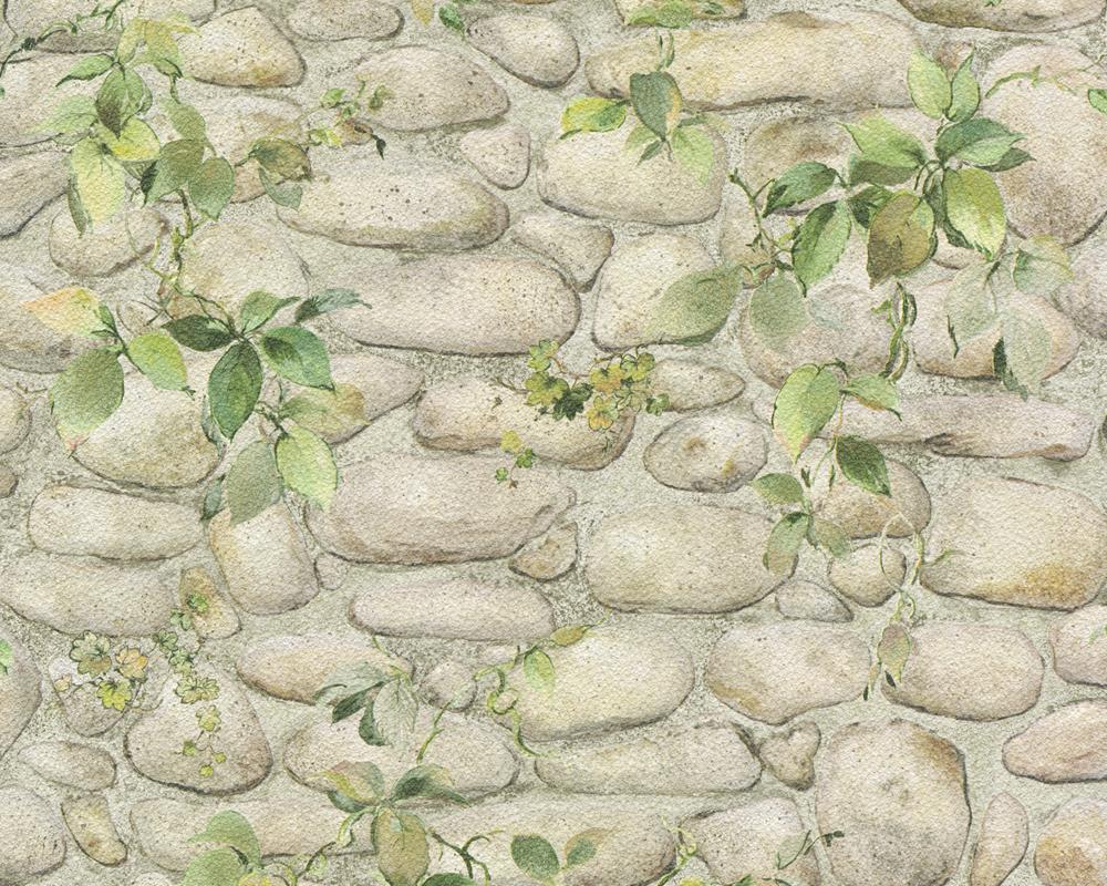 A.S. Création Papiertapete Dekora Natur, Mustertapete in Steinoptik, grün