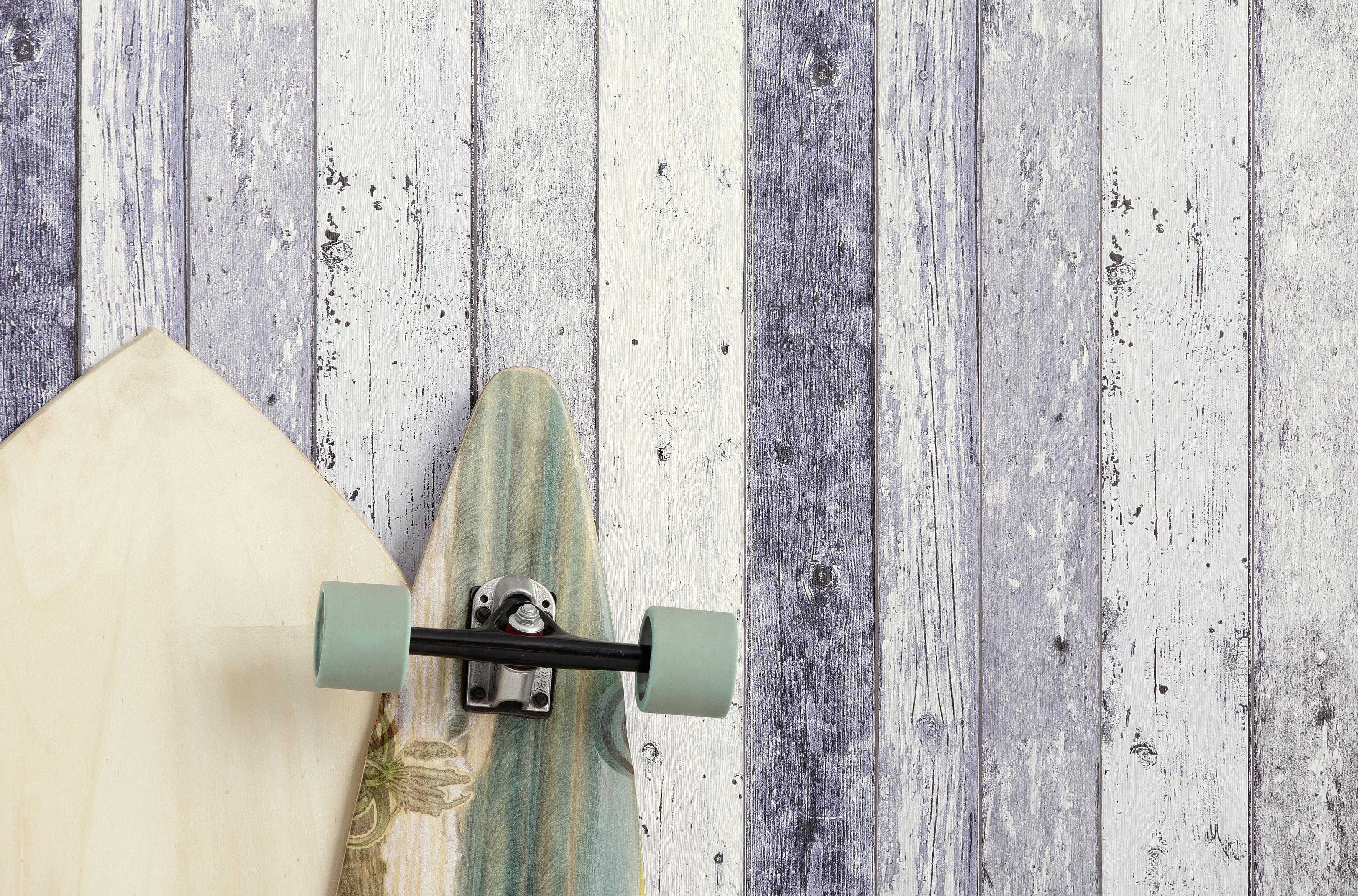 Livingwalls Holzoptik Surfing und Sailing blau