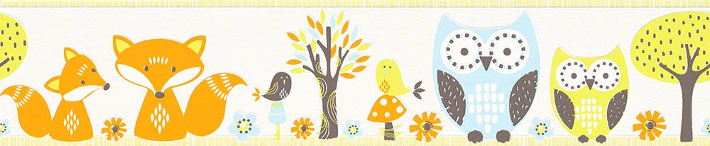 Esprit Kids Bordüre Forest, Papier, creme, hellgrün, hellblau, orange, braun