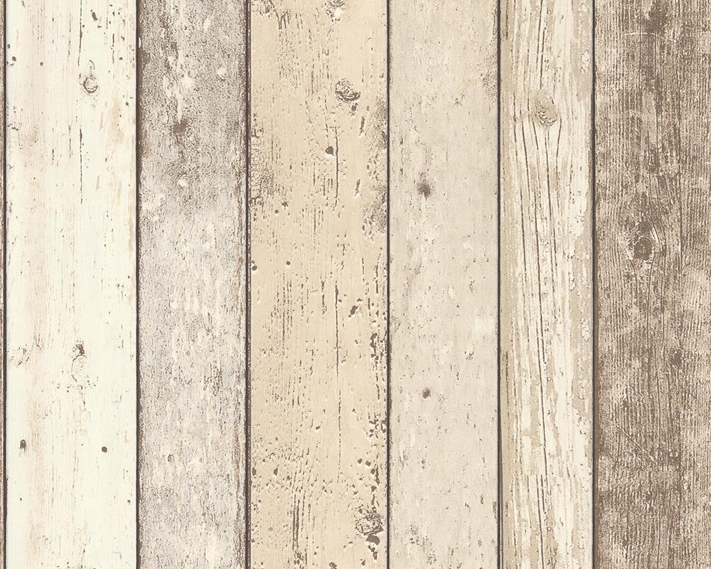 A.S. Création Tapete New England Holzoptik, Beige, Braun, Weiß,