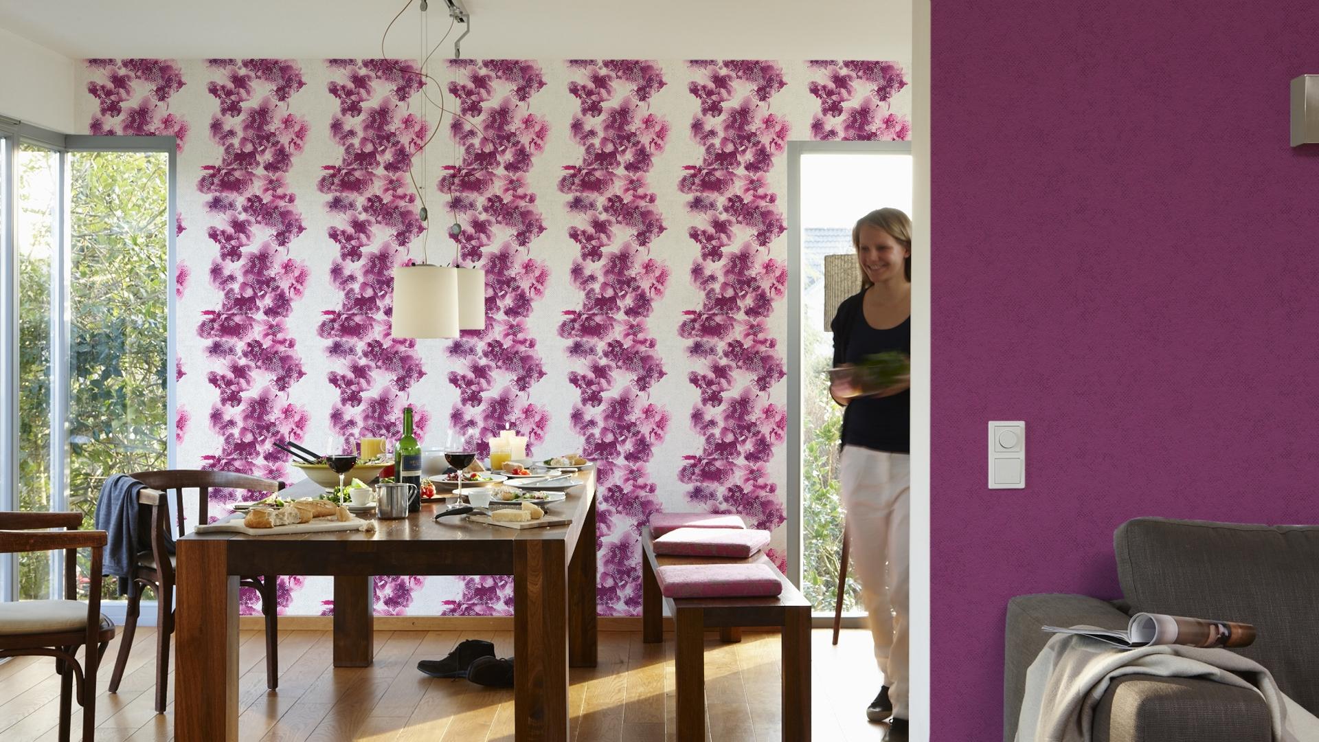 Livingwalls Vliestapete METROPOLIS by Michalsky Living, Mustertapete Honolulu, floral, aquarelle, violett, weiß