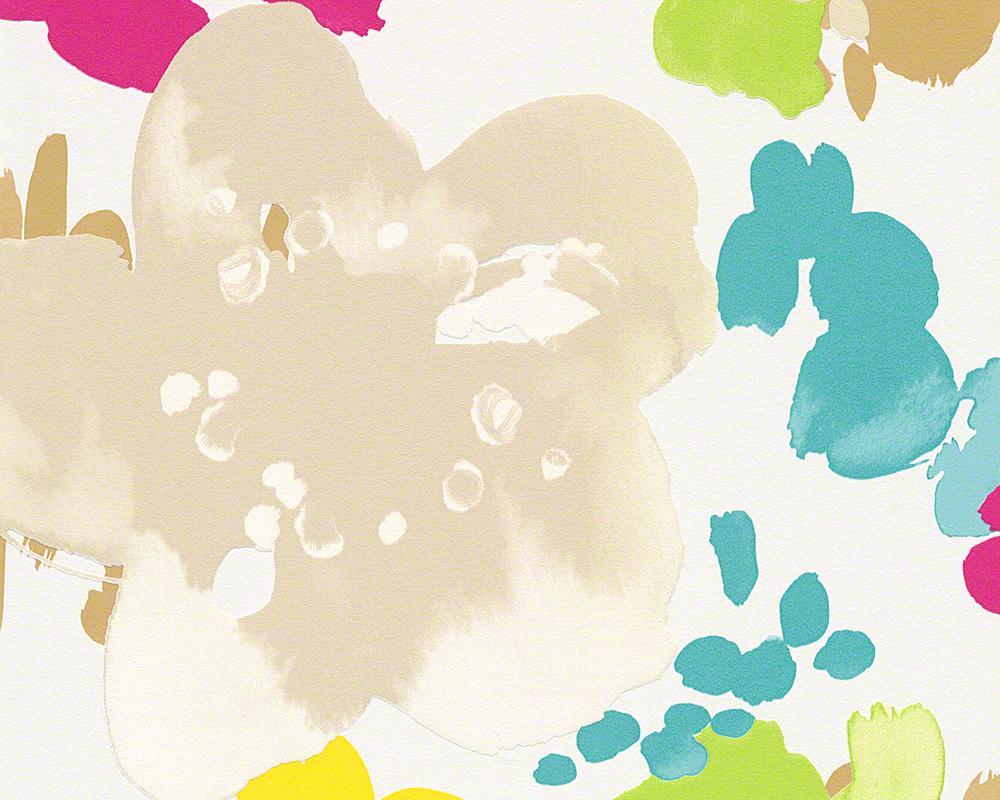 Esprit Home Tapete Buenos Aires, Mustertapete, floral, signalweiß, beige, türkisblau, hellgrün, zinkgelb, telemagenta