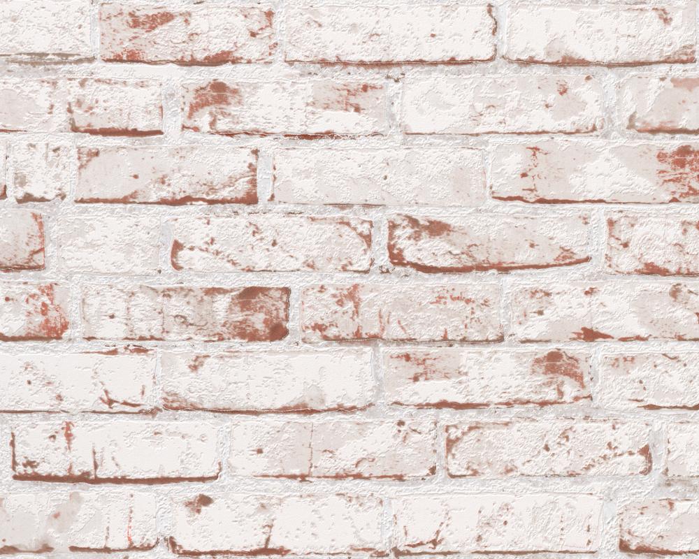 A.S. Création Vliestapete New England Backsteinoptik, beige, braun, rot